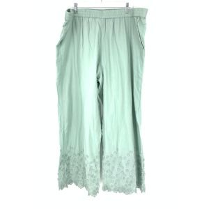 Soft Surroundings 2X Wide Leg Pant Embroidered Hem